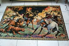 Vintage french Lion Hunting scene tapestry carpet #20  upholstery cushions