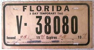 Florida Temporary Tag >> Florida 1971 5 Day Temporary Tag License Plate V 38080 Ebay