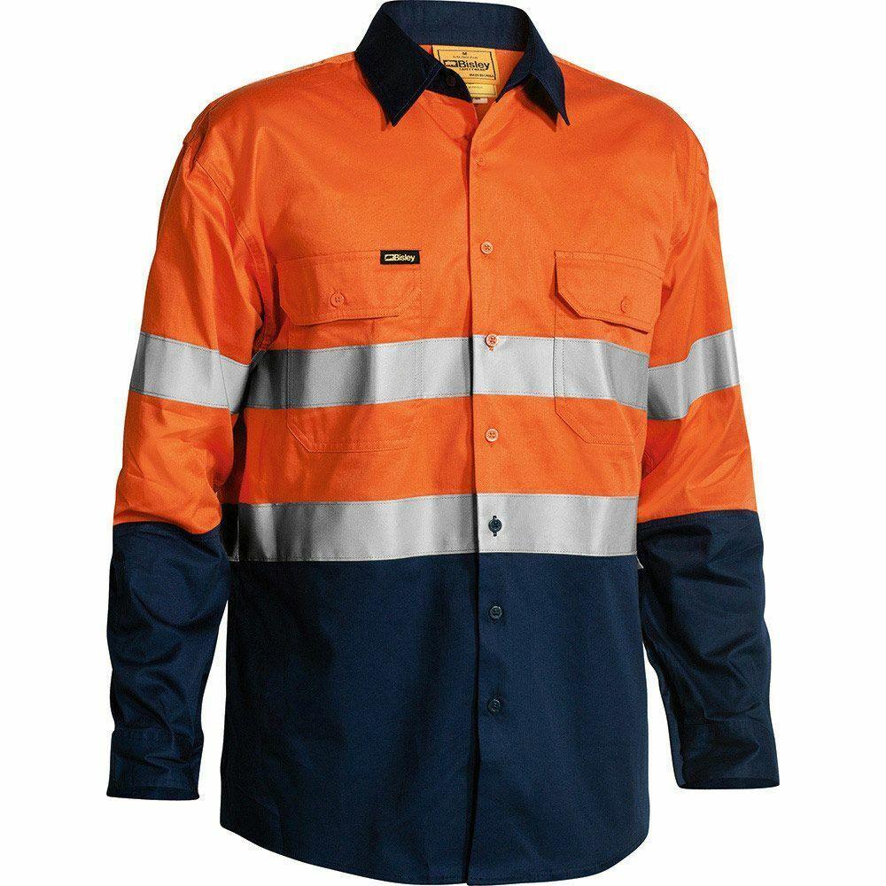 Bisley Hi Vis  fresco con cinta camisa de mangas largas Naranja Azul Marino-Pequeña, Mediana O Grande  echa un vistazo a los más baratos
