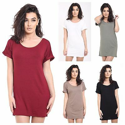 NEW WOMENS LADIES TURN UP SLEEVE PLAIN BASIC TUNIC DRESS LONG TOP PLUS SIZE 8-26
