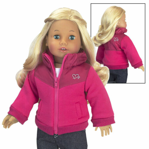Doll Clothes Nylon Fleece Lined Jacket Coat Hot Pink For 18 American Girl AG