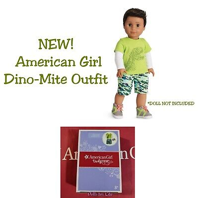 American Girl Boy Dino mite Outfit Dinosaur Green Shirt Shorts Shoes NEW in BOX