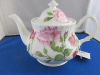 Sale Rose Du Temps Fine Bone China Made In England Teapot 6 Cup 36oz Roy Kirkham