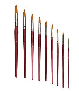 Golden-Nylon-Kunsthaar-Rundpinsel-Groesse-2-bis-20-fuer-Acrylfarbe-Aquarellfarbe