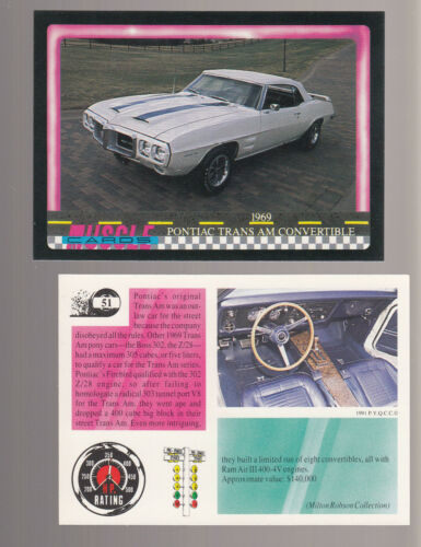 1969 PONTIAC TRANS AM CONVERTIBLE 400 V8 Muscle Car Photo 1991 TRADING CARD