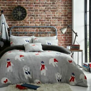 Teddy Bear Stag Fleece  Duvet Cover Set /& Throw Printed Warm Winter Bedding