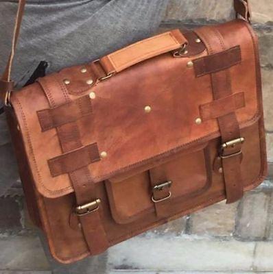 """18/"""" Real Handmade Leather distressed messenger laptop computer case shoulder bag"""