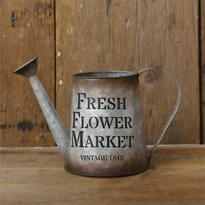 Details About Rustic Decor Vintage Tin Watering Can Fresh Flower Market Rustic Home Decor