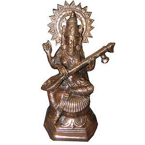 Figura-color-bronce-Sarasvati-56-cm-Hinduismo-deidad-religion-India-decoracion