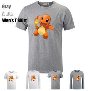 Pokemon-Charmander-Charizard-Pikachu-Graphic-Long-Short-Sleeves-Men-039-s-T-Shirt