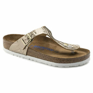 2526a9b049 Image is loading CLEARANCE-Birkenstock-Leather-GIZEH-Spectral-Platin-SOFT- FOOTBED-
