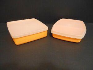 Tupperware 4 Piece Lunch Snack Keeper Set Orange #2065 #2066 #670 #1458 New