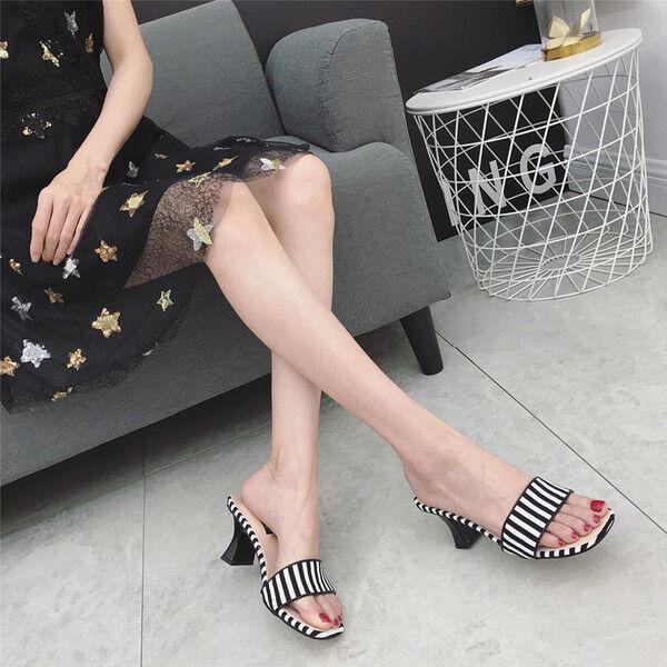 Sandali stiletto eleganti sabot 7.5 cm nero  ciabatte pelle sintetica 1059