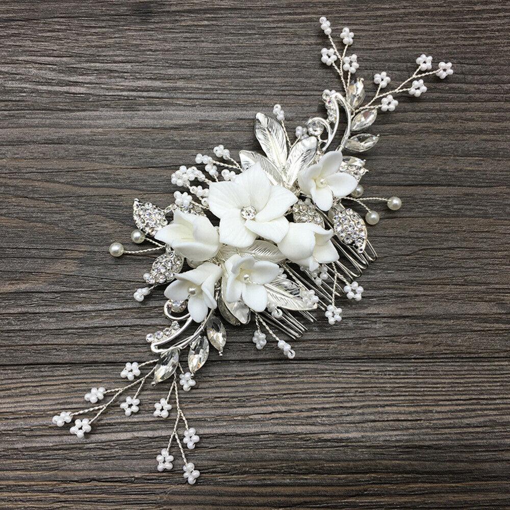 1 stück braut haarkamm perlen weiße keramik haarschmuck für frauen mädchen
