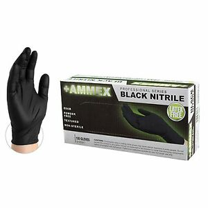 AMMEX Black Nitrile Exam Disposable Gloves, Box, 100 count