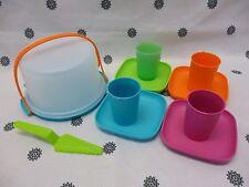 Tupperware Kids Toy Mini Picnic Tea Set Cake Taker Cups Plates Miniture New