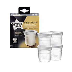 Image is loading 4-Tommee-Tippee-Breast-Milk-Storage-Pots-Containers-  sc 1 st  eBay & 4 Tommee Tippee Breast Milk Storage Pots Containers Closer to Nature ...