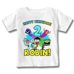 76b1f90fa9a8 Teen Titans Go Birthday Shirt Custom Name and Age Personalized DC ...