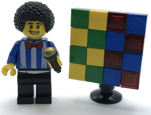 Lego New Game Show Host Minifigure Afro and Game Screen T.V Star Figure