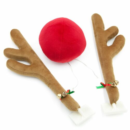 Rudolph Reindeer Car Antlers Red Nose Accessory Kit Christmas Automotive Decor ^
