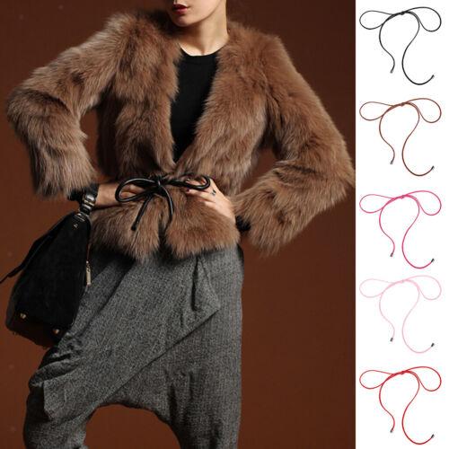 2x Mode Frauen geflochtene Gürtel PU Quaste selbst binden dünne Taille