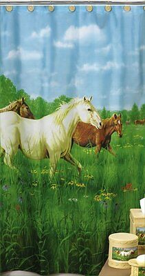 Prairie Meadows Horses Horse Fabric Shower Curtain