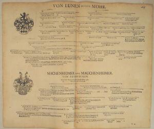von-LUNEN-genannt-Mohr-Orig-Stammbaum-1707-Adel-Mauchenheimer-von-Zweibruecken
