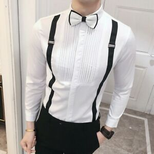 Men-039-s-Long-Sleeve-Pleated-Front-Braces-Shirt-w-Bowtie-Blouse-Ruffle-Top-Fashion