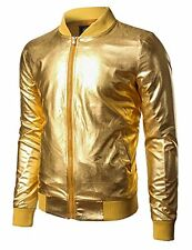 JOGAL Mens Metallic Nightclub Styles Zip Up Varsity Baseball Bomber Jacket Large