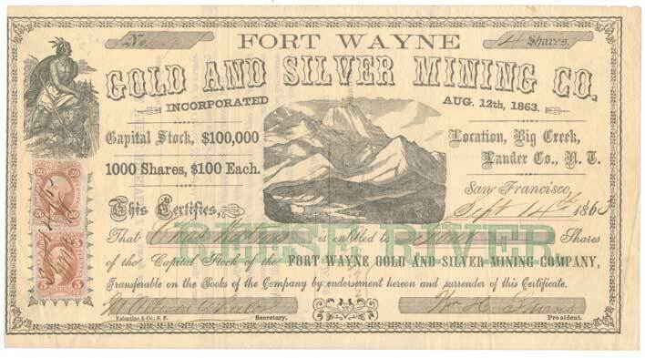 R23c, R41a on 1863 Fort Wayne Gold Mining Co. Nevada Te