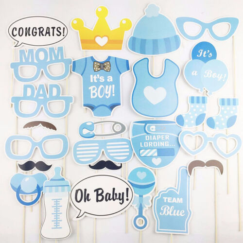 25Pcs Boys Girls Birthday Decoration Baptism Party Photo Booth Props Supplies