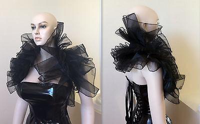 Cosplay black widow Halloween Drama Burlesque Organza Wedding Bolero Shrug Wrap