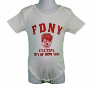 e8633410de0 Details about FDNY Baby Infant Screen Printed Bodysuit White   Red Fire Dept  Toddler Tee Gift