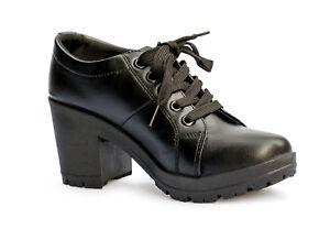 nouveau produit 18cd8 4fdda Détails sur Bottines Femme Avec Talon Et Lacets Chaussures Ville Derby  Boots Noir