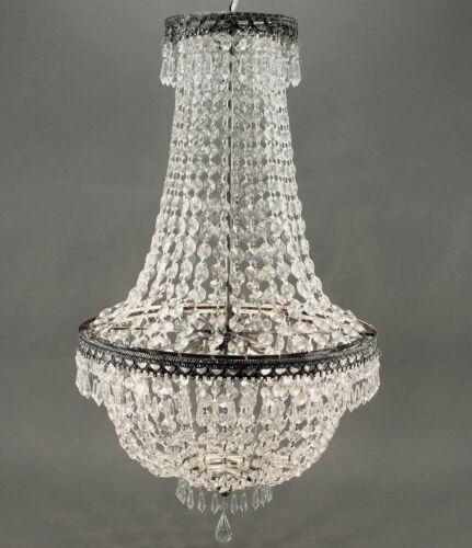 KRONLEUCHTER KRISTALL 65cm DECKENLAMPE LAMPE KORBLEUCHTER KRISTALLLEUCHTER NEU