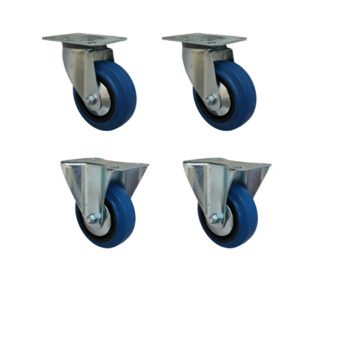 Set 80 mm Blue wheels elastik rôles comme lenkrolle 2l+2b transport roulettes 1a