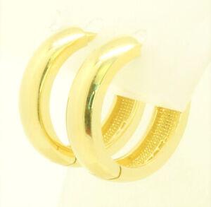 Damen-amp-Herren-Klappcreolen-Creolen-14-Kt-Ohrringe-585-Gold-3-9-mm-breit-Massiv