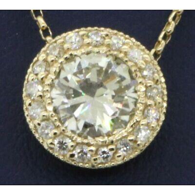 EGL USA 14K gold 1.49CT VS2/J diamond halo pendant necklace w/ 1.29CT ctr.