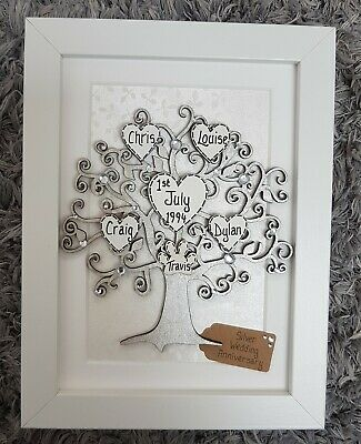 9th Wedding Anniversary Gift - Personalised Family Tree Frame, 9 years,  Silver  eBay