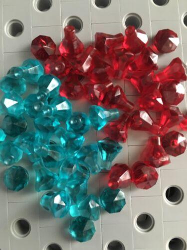 Lego New Lot Of 50 Trans Red Turquoise Blue Diamond Gem Jewels Friends Treasure