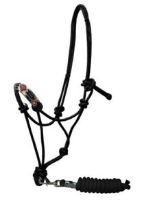 Showman PONY Size Multi Color Beaded Noseband Cowboy Knot ROPE HALTER /& LEAD