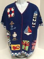 Quacker Factory Nautical Theme Cardigan Sweater - Size 1x - & Button Covers
