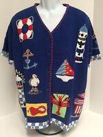 Quacker Factory Nautical Theme Cardigan Sweater - Size 1x - & Button Covers