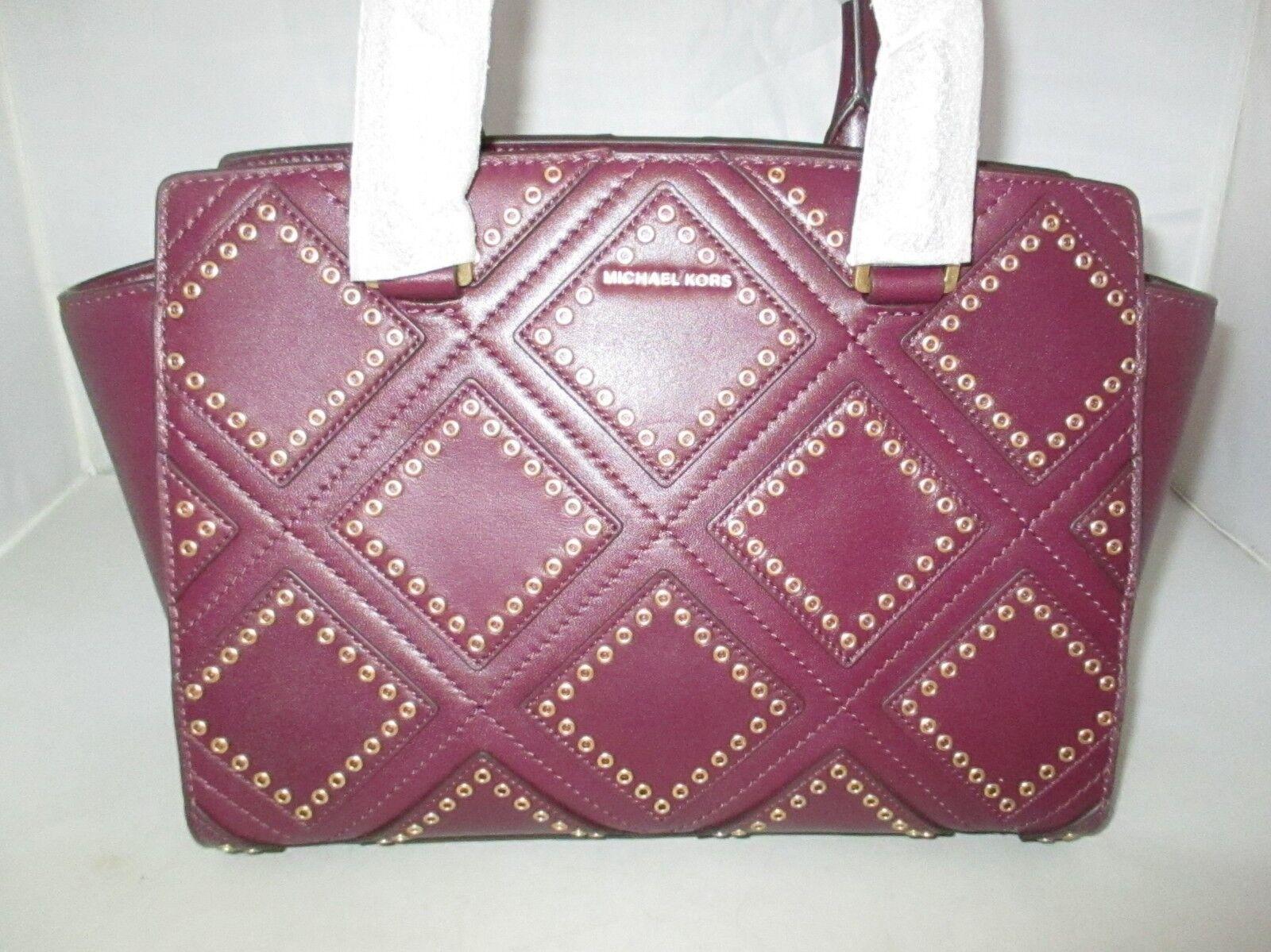 Michael Kors Plum Diamond Grommet 30f6adxs2l Medium Leather Satchel Selma Lilac Authentic Ebay