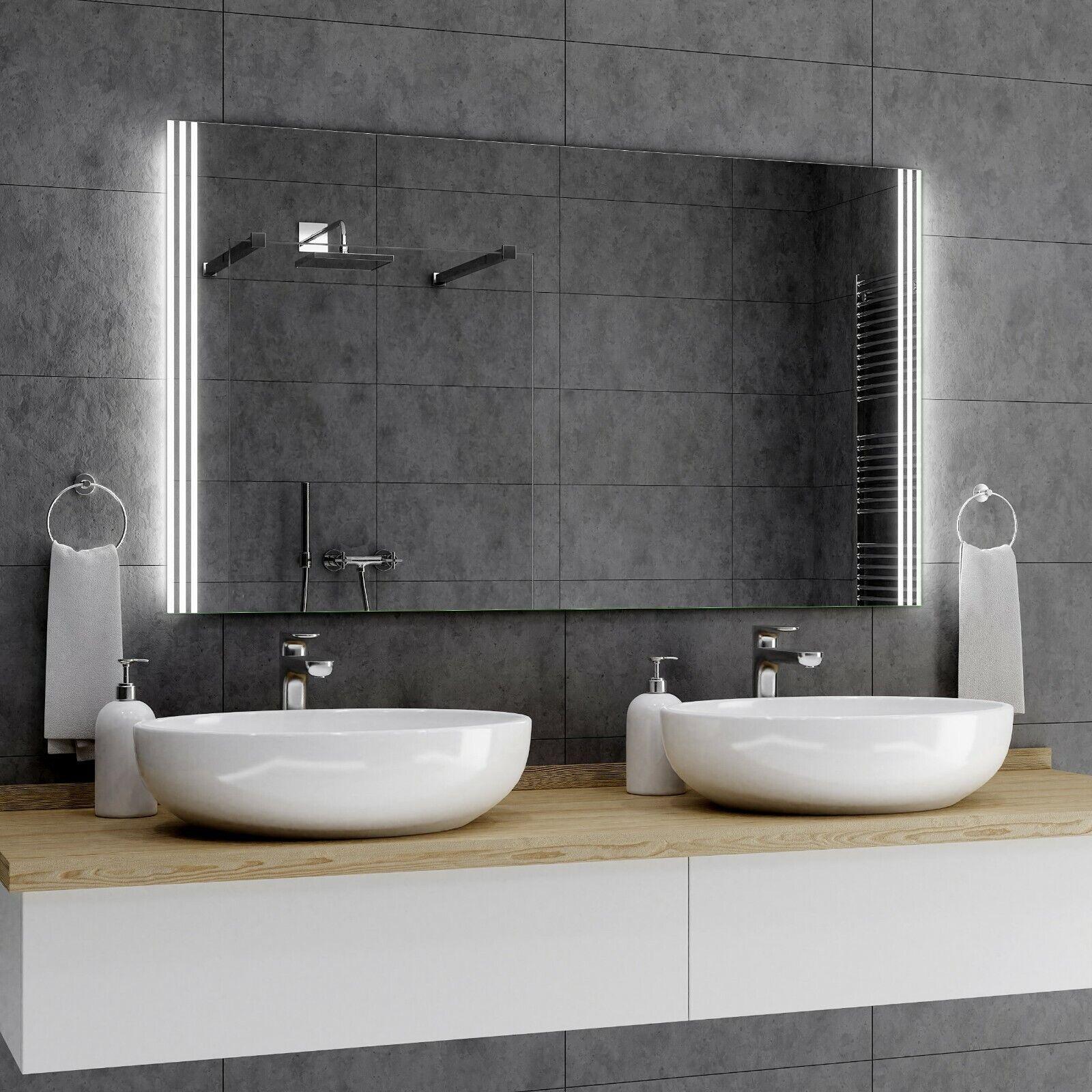ARICA Badspiegel mit LED Beleuchtung Wandspiegel Badezimmerspiegel nach Maß A01