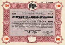Gold Pfandbrief Prussian Preußen Zentralstadtschaft Berlin Bank Anleihe 1926 +27