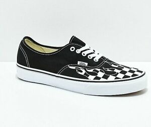 Details about Mens Vans Authentic Checker Flame Skate Shoes Sneakers Black  White