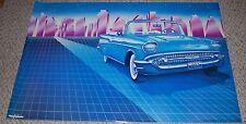 1957 Heaven Blue CHEVY Bel Air Convertible Art Deco Car Poster 1985 Artemis 8148