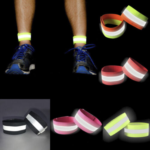 2Pcs Sport Running Safety Reflective Arm Band Belt Strap Night Glowing Wristband