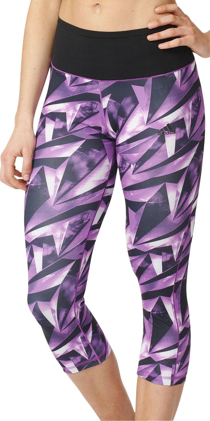 Adidas High-Rise All Over Print Womens  3 4 Capri Running Tights - Purple  global distribution